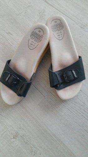 J.RUBIO Heel Pantolettes dark blue leather