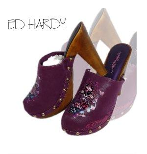 Ed Hardy Zomerschoenen met hak paars-lila