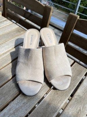 Bianco Heel Pantolettes oatmeal