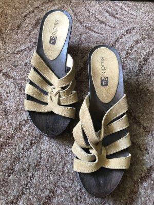 Heel Pantolettes beige-dark brown