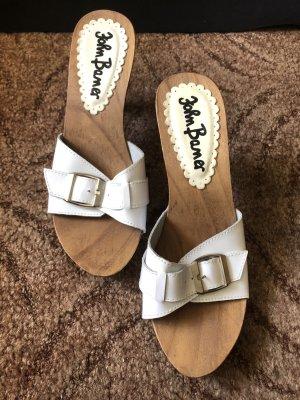 John Baner Heel Pantolettes white-brown