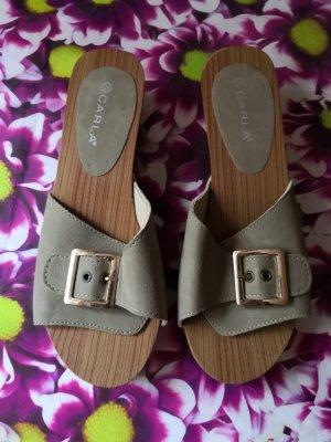Heel Pantolettes taupe-grey brown
