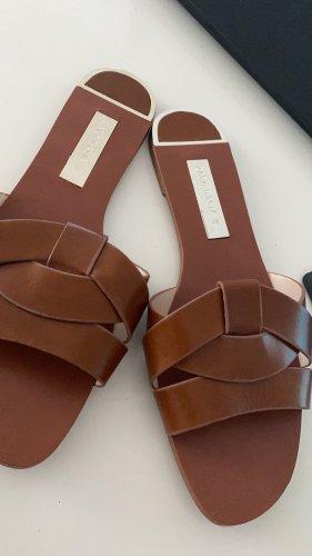 Zara Sandalias con tacón marrón-coñac