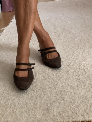 Chanel Heel Pantolettes dark brown