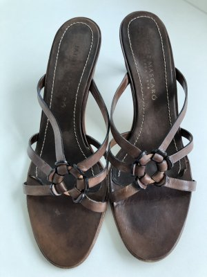 Jaime Mascaro Heel Pantolettes dark brown leather