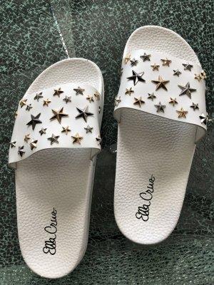 Pantoletten Ella Cruz weiß Sterne 38 neu!!!