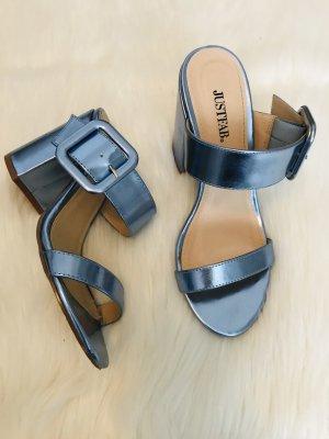 Sandalo con tacco blu fiordaliso