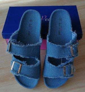 Pantoletten Sandalen von Pink Pearl - Jeans - Gr. 40