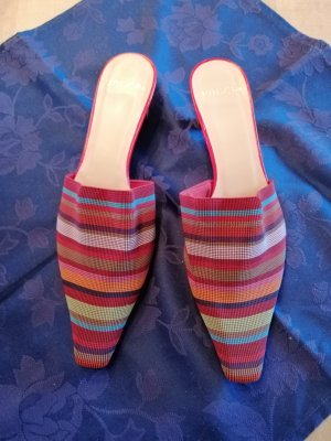 Unisa Heel Pantolettes brick red-light blue