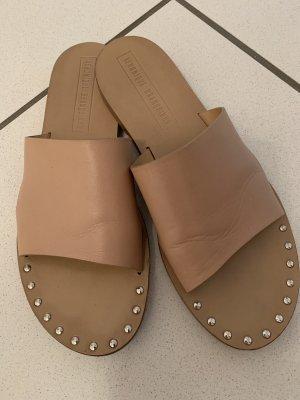 Heel Pantolettes beige leather