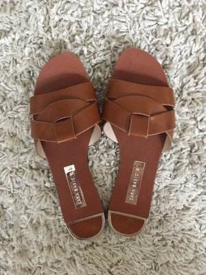 Zara Basic Sabots cognac-coloured