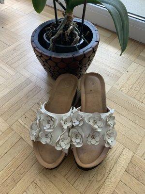 Pantoletten/Wedges - White/Weiß - BlumenDekor - Größe 37