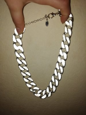 Flame Curb Chain white-silver-colored