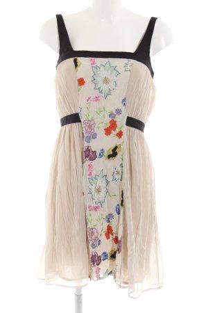 Paola Frani Trägerkleid schwarz-creme Blumenmuster Elegant