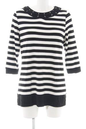 Paola! Camisa larga negro-blanco estampado a rayas look casual