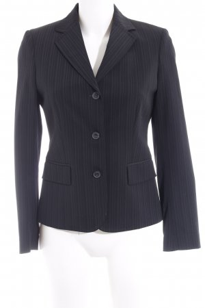 Paoloni Long-Blazer schwarz Streifenmuster Business-Look