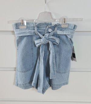 Paperbag Highwaist Shorts - denim hellblau - Größe 34 XS - neu