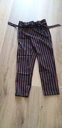 Zara Women Pantalone a vita alta bianco-blu scuro