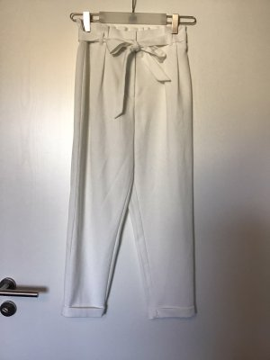 Pantalón de pinza alto blanco-crema