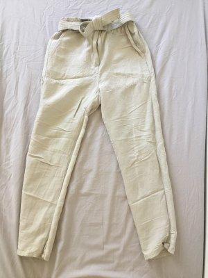H&M Pantalone di lino beige chiaro-bianco sporco