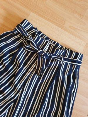 H&M Pantalon Marlene blanc-bleu foncé