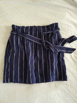 H&M Jupe en lin blanc-bleu foncé