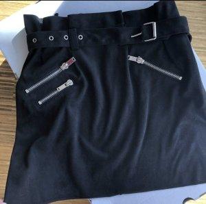 Paperbag-Rock Mini Rock ZARA S mit Gürtel und Zippern Velourslederimitat