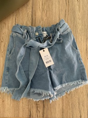 Paperwaist tied waist denim short na-kd