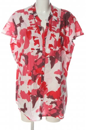 Paprika Blouse met korte mouwen rood-wolwit volledige print casual uitstraling
