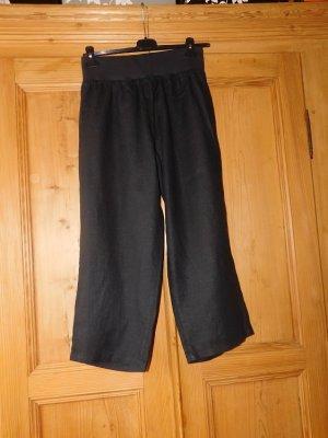 Paprika: neue schwarze Leinenhose mit elastischem Bund, 7/8 Länge, ohne Taschen,  Gr. 1 (44)