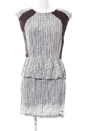 Paramita Schößchenkleid weiß-dunkelbraun abstraktes Muster Casual-Look