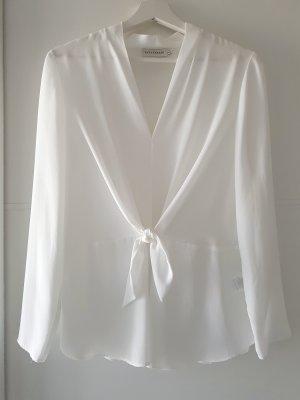 PARAPHRASE Bluse mit Bindeschleife, Gr.S, weiß, leicht transparent