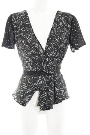 Paraphrase Wraparound Blouse black-white spot pattern casual look