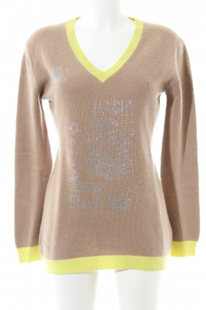 Parenti's Maglione di lana bronzo-giallo pallido Stampa a tema stile casual
