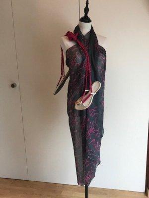 Summer Scarf dark grey-pink cotton