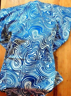 Pañuelo playero blanco-azul neón