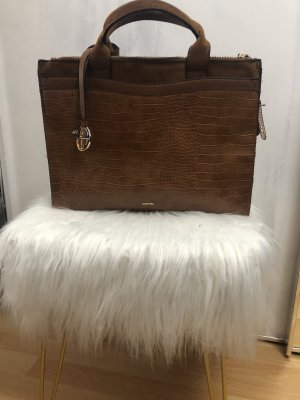 Parfois Briefcase bronze-colored mixture fibre