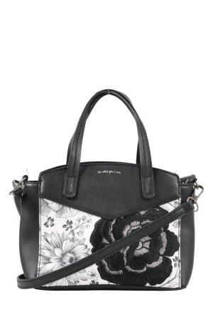 Parfois Sac de soirée noir-blanc motif de fleur style d'affaires