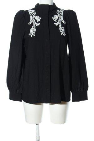 Paris Atelier Langarm-Bluse schwarz abstraktes Muster Casual-Look