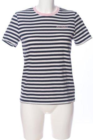 Paris Atelier Prążkowana koszulka czarny-biały Wzór w paski W stylu casual