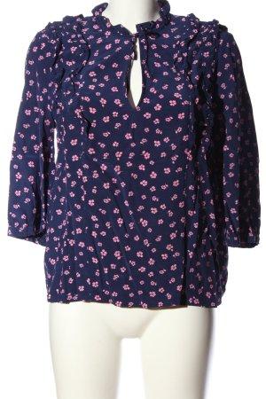 Paris Atelier Schlupf-Bluse blau-pink Allover-Druck Casual-Look