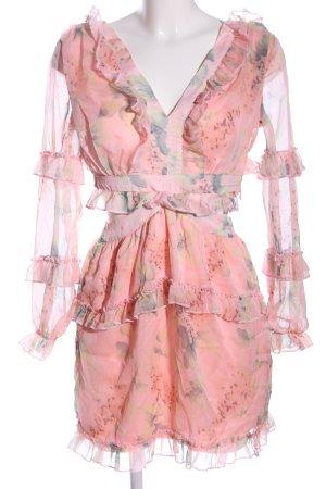 Parisian Blusenkleid pink-blau Allover-Druck Elegant