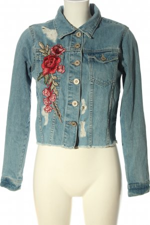 Parisian Denim Jacket blue-red flower pattern casual look