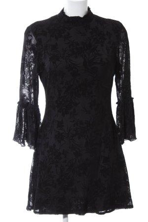 Parisian Langarmkleid schwarz florales Muster Gothic-Look