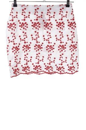 Parisian Minirock weiß-rot Blumenmuster Casual-Look