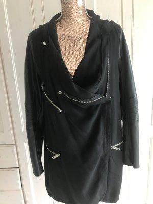 Zara Woman Hooded Coat black viscose