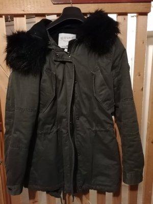 Tom Tailor Denim Płaszcz z kapturem czarny-khaki
