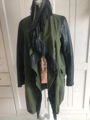 Military Jacket black-khaki imitation leather