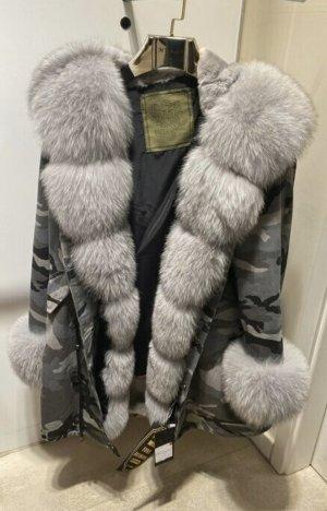 Fur Jacket silver-colored-grey