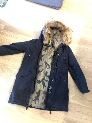 Blonde No. 8 Manteau de fourrure bleu foncé